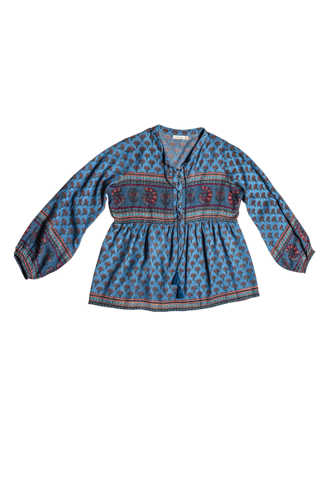 lurex gauze blue peacock folk blouse