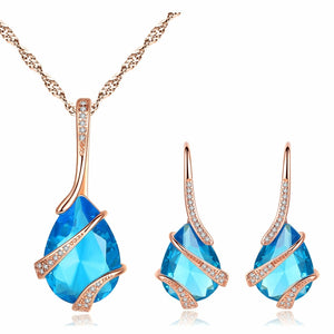 ZIRCON women sea blue water drop earring+necklace set AAA cubic