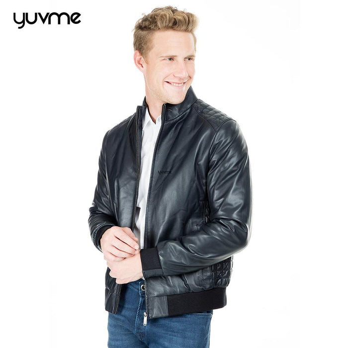 Polished Pattern Genuine Leather Jacket for Men