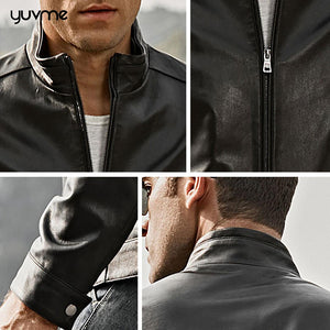 Autumn Winter Genuine Leather Jackets for Men