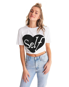 Self-Love Twist top Women's Twist-Front Cropped Tee