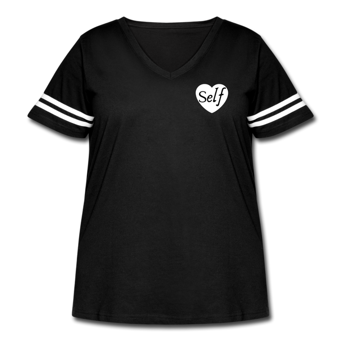 Women's Curvy Vintage Sport T-Shirt - black/white