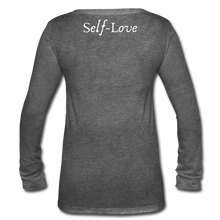 Load image into Gallery viewer, Women's Long Sleeve  V-Neck Flowy Tee - deep heather