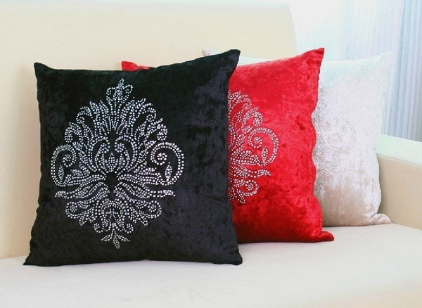 Damask Cushion Covers in Velvet with Silver Studs