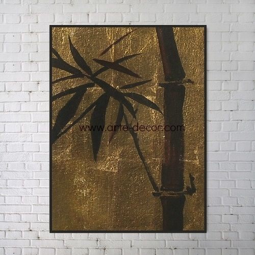 Golden Bamboo Shoot Gold Foil Canvas Painting