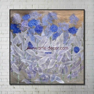 Regal Blue Flowers Gold Foil Canvas Painting