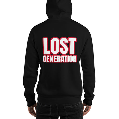 collection streetwear hoodie imprimé lost generation rouge