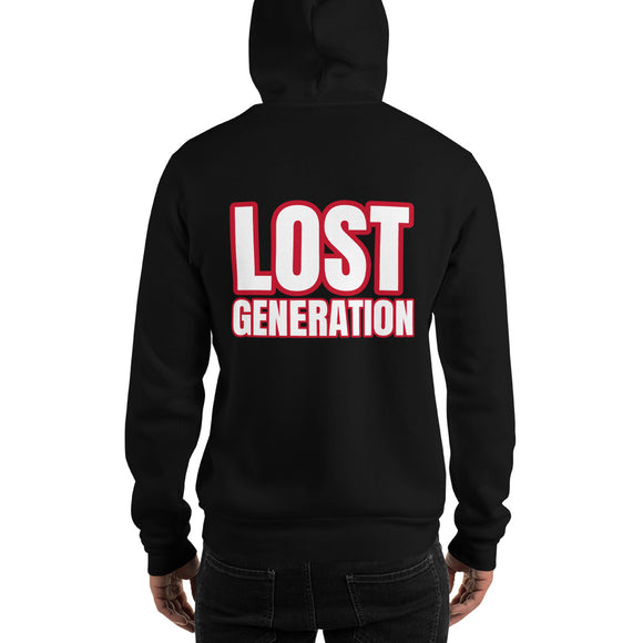 printed black hoodie lost generation designedbybob