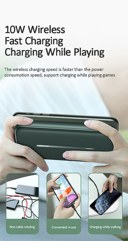 Wireless Fast Charging Power Bank with Suction Cup 10000mAh for Phone / Tablet