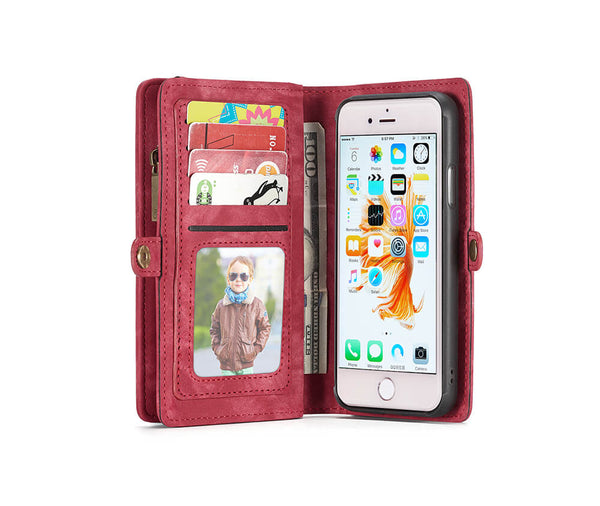 2IN1 DETACHABLE SUEDE WALLET for iPhone 7, 8 & SE#Colour_Red