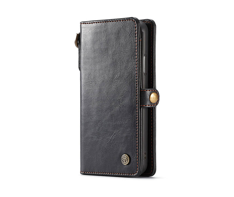 SAMSUNG S8+ DETACHABLE RETRO LEATHER WALLET CASE - BLACK