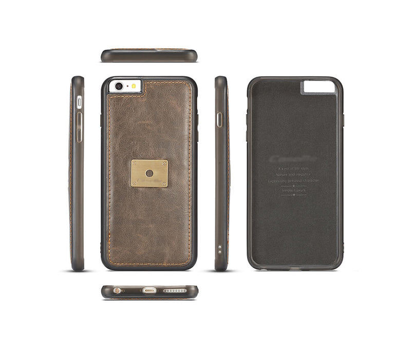 IPHONE 6/6S DETACHABLE RETRO LEATHER WALLET CASE - BLACK