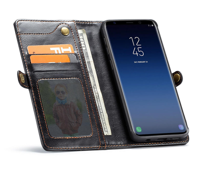 SAMSUNG S9+ DETACHABLE RETRO LEATHER WALLET CASE - BLACK