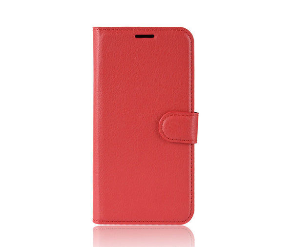 LITCHI LEATHER WALLET CASE for Oppo R15 Pro#Colour_Red