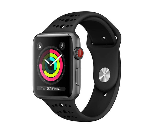 IWATCH 44MM SILICON BAND WITH HOLES - BLACK#Colour_Black