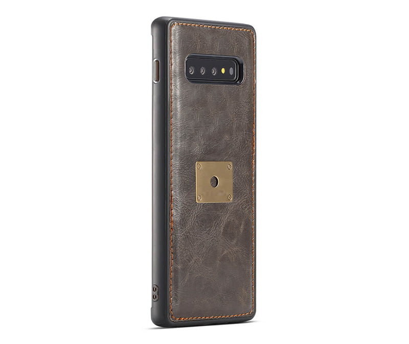 GALAXY S10 DETACHABLE RETRO LEATHER WALET CASE - BLACK
