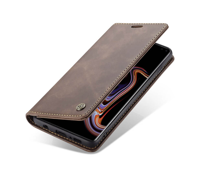 GALAXY S10 SUEDE LEATHER WALLET CASE - BLACK