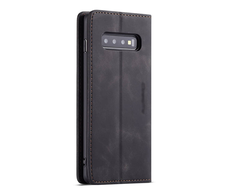 GALAXY S10+ SUEDE LEATHER WALLET CASE - BLACK