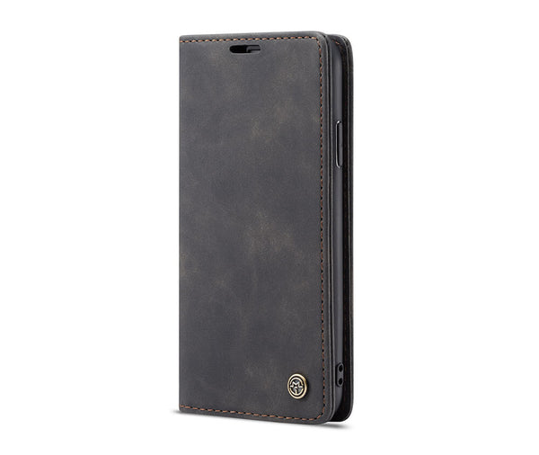 IPHONE X/XS SUEDE LEATHER WALLET CASE - BLACK#Colour_Black