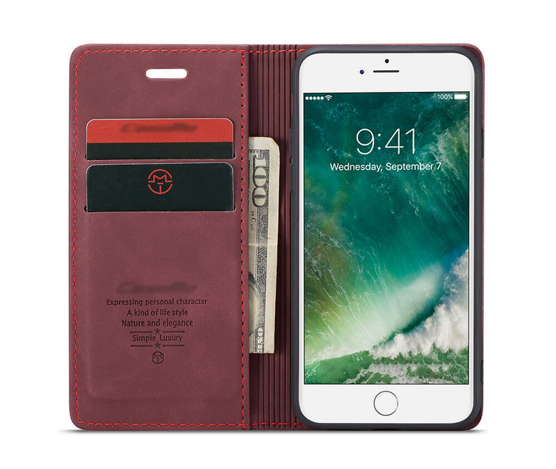SLIM SUEDE LEATHER WALLET CASE for iPhone 7, 8 & SE