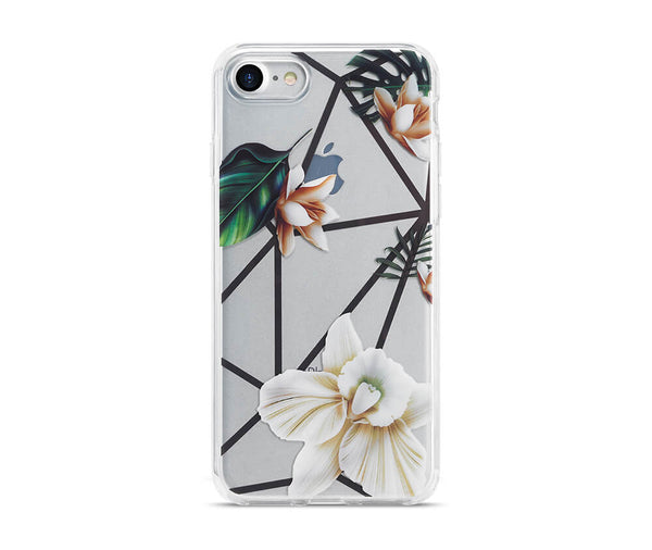 SLIM & PROTECTIVE TRANSPARENT W/RAISED EDGES FLOWER DESIGN for iPhone 7, 8 and SE_1