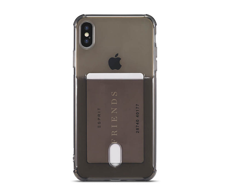 SLIM & PROTECTIVE TRANSPARENT W/RAISED EDGES & CARD SLOT for iPhone XS Max