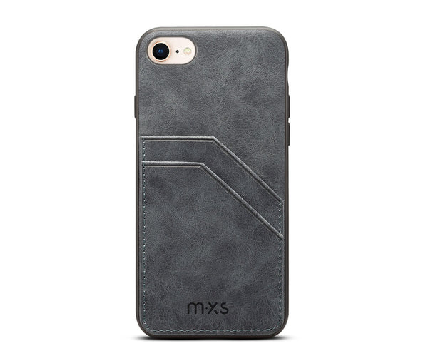 MXS PROTECTIVE & STYLISH LEATHER BACK 2 CARD SLOT CASE for iPhone 7, 8 & SE 2020#Colour_Grey