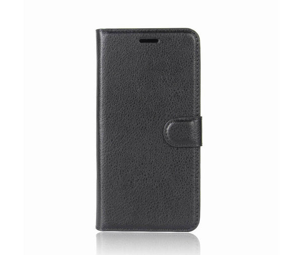 LITCHI LEATHER WALLET CASE for Oppo A73#Colour_Black
