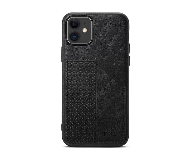 MXS PROTECTIVE & STYLISH LEATHER BACK 1 CARD SLOT CASE for iPhone 11 Pro Max#Colour_Black