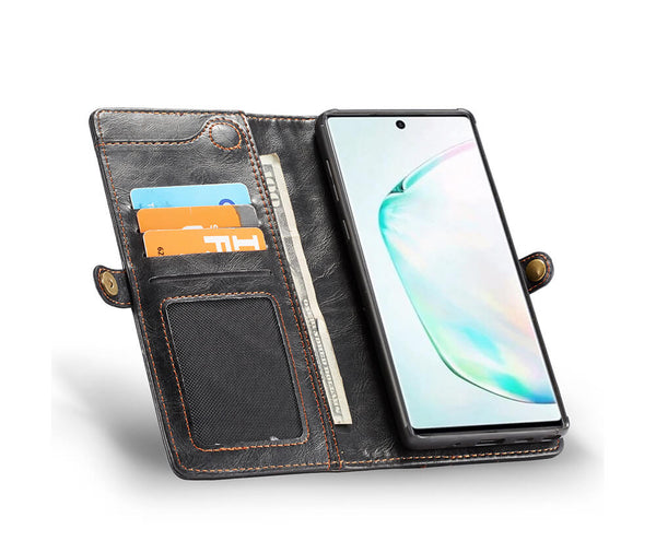 2IN1 DETACHABLE LEATHER WALLET for Galaxy Note 10+#Colour_Black