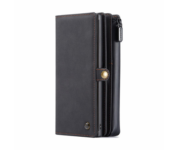 DETACHABLE MULTI FUNCTIONAL RETRO LEATHER WALLET for Galaxy Note 10+#Colour_Black