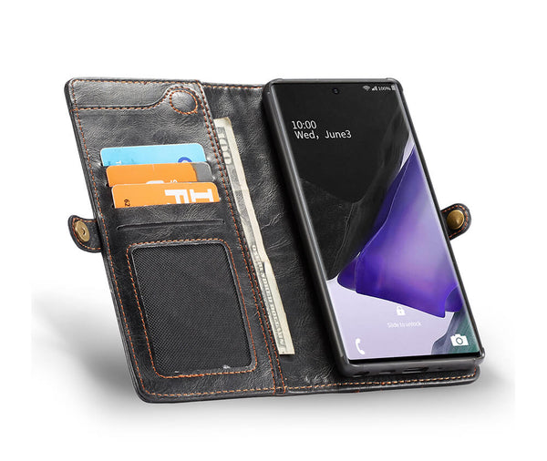 2IN1 DETACHABLE LEATHER WALLET for Galaxy Note 20#Colour_Black
