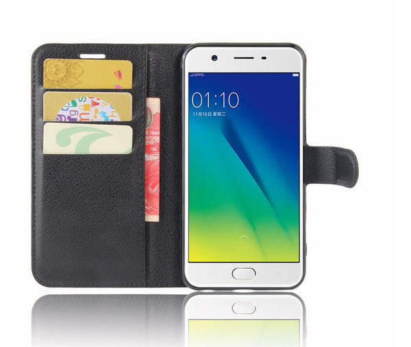 LITCHI LEATHER WALLET CASE for Oppo A57#Colour_Black
