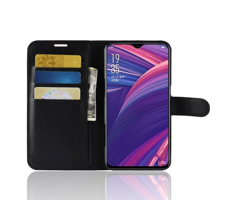 LITCHI LEATHER WALLET CASE for Oppo R17 Pro