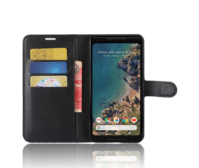 LITCHI LEATHER WALLET CASE for Pixel 2 XL