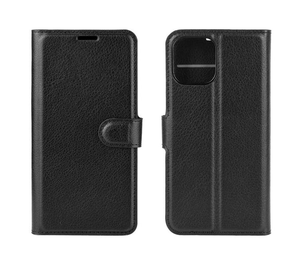 LITCHI LEATHER WALLET CASE for iPhone 12#Colour_Black