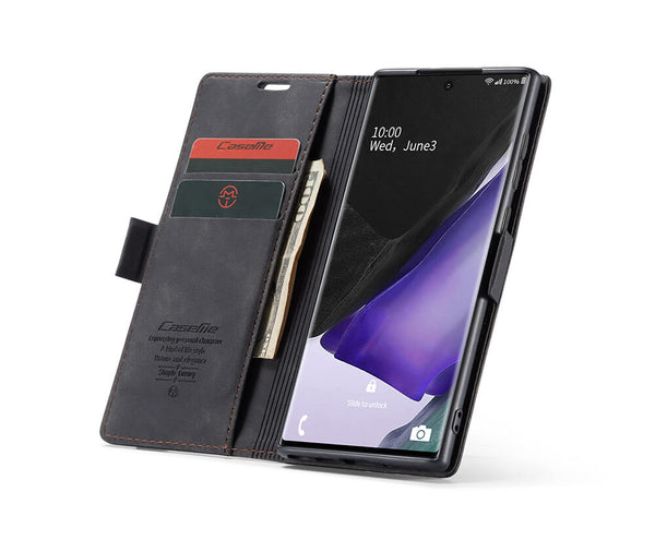 SLIM SUEDE LEATHER WALLET CASE for Galaxy Note 20#Colour_Black