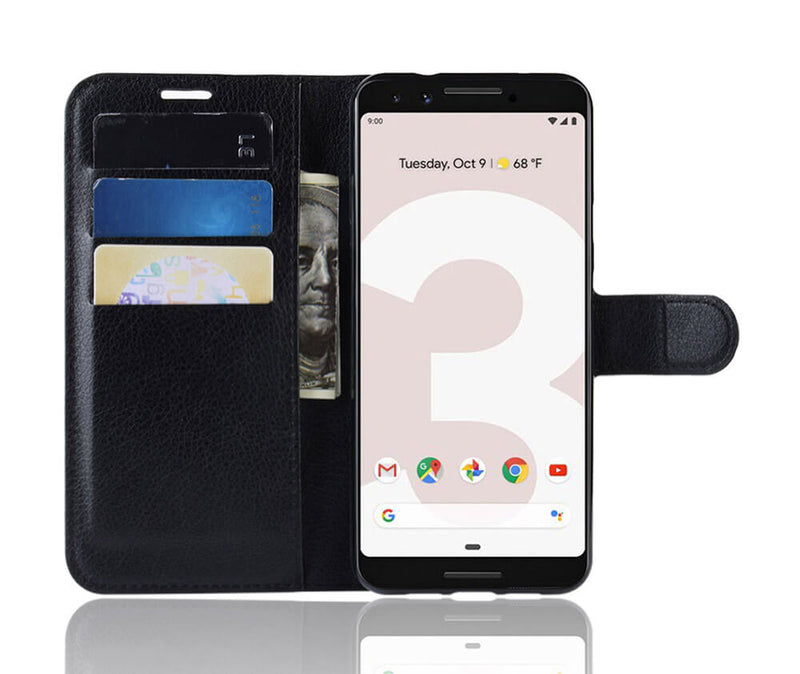 LITCHI LEATHER WALLET CASE for Pixel 3