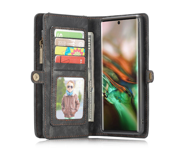 2IN1 DETACHABLE SUEDE WALLET for Galaxy Note 10+#Colour_Black