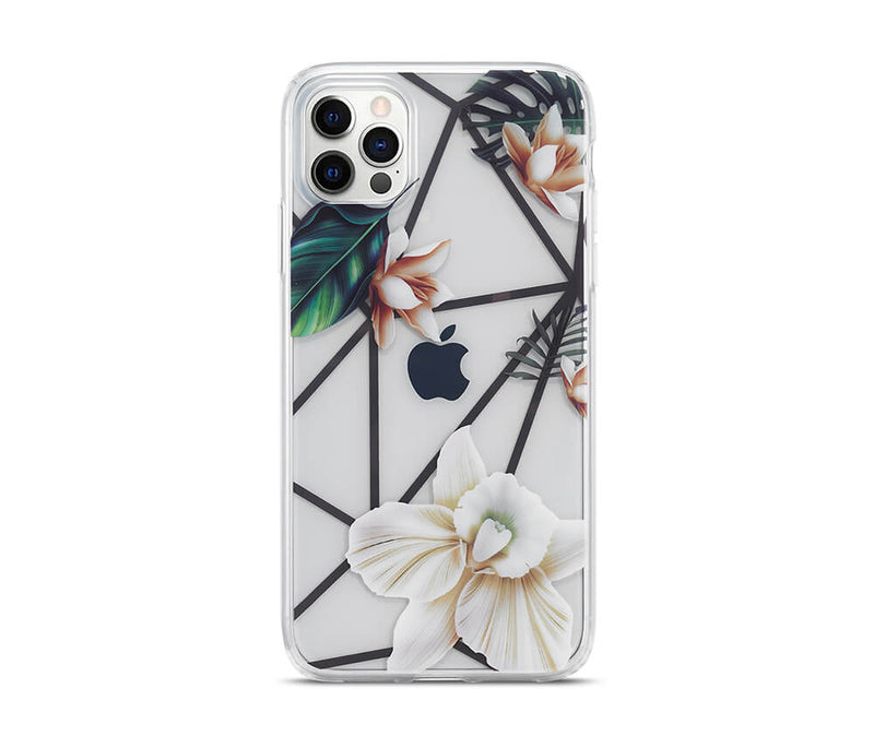 Slim & Protective Transparent TPU with Raised Edges Flower Design_1
