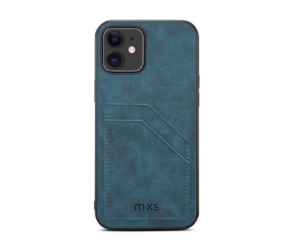 MXS Protective & Stylish Leather Back 2 Card Slot Case for iPhone 12 & 12 Pro#Colour_Teal