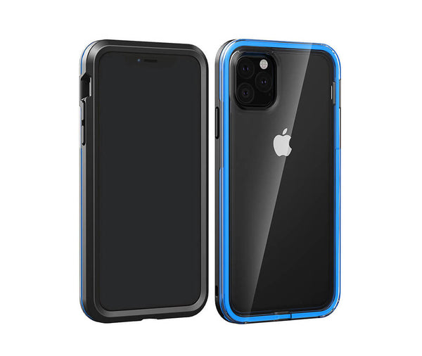 Military Defence Case with Clear Back & Coloured Border for iPhone 11 Pro Max#Colour_Blue