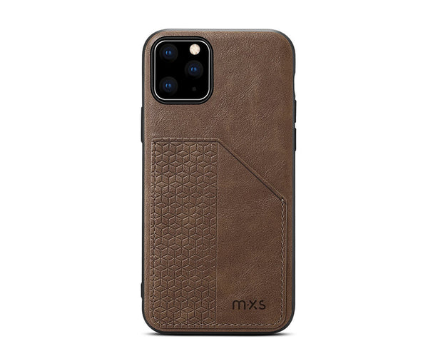 MXS PROTECTIVE & STYLISH LEATHER BACK 1 CARD SLOT CASE for iPhone 12 & 12 Pro#Colour_Brown