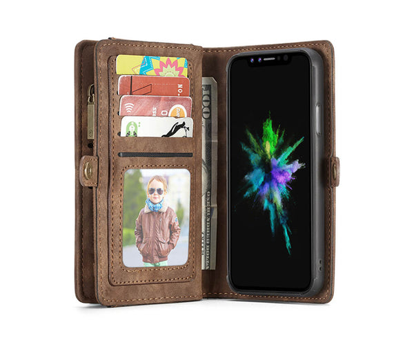 2IN1 DETACHABLE SUEDE LEATHER WALLET for iPhone X & XS#Colour_Brown