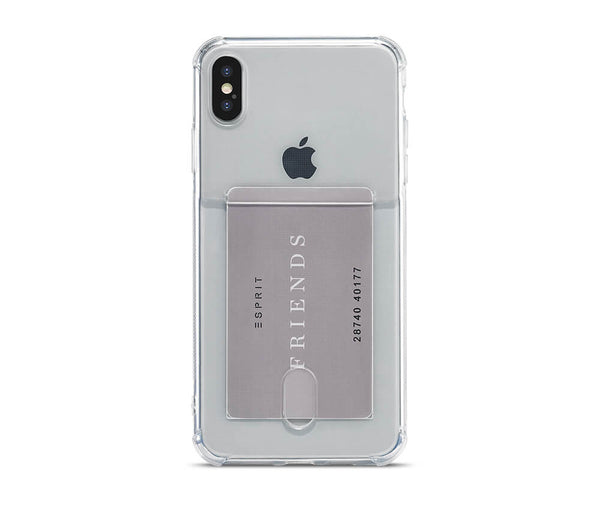 SLIM & PROTECTIVE TRANSPARENT W/RAISED EDGES & CARD SLOT for iPhone X & XS#Colour_Clear
