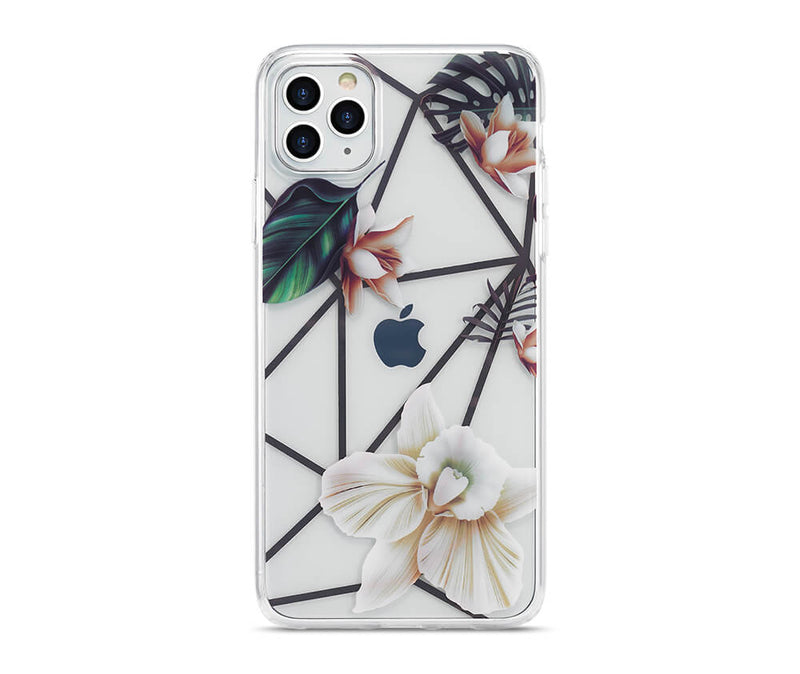 Slim & Protective Transparent TPU with Raised Edges Flower Design