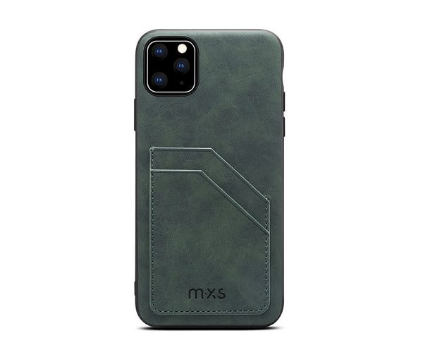 MXS PROTECTIVE & STYLISH LEATHER BACK 2 CARD SLOT CASE for iPhone 11 Pro Max#Colour_Green