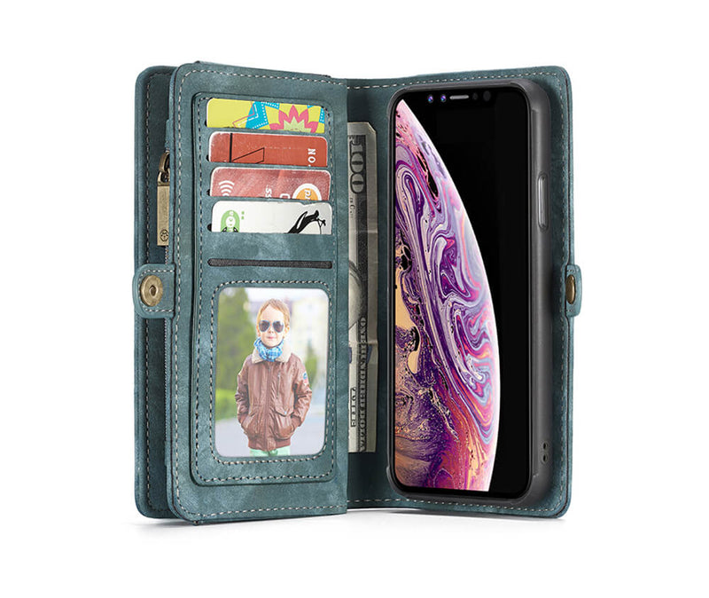 2IN1 DETACHABLE SUEDE LEATHER WALLET for iPhone XS Max