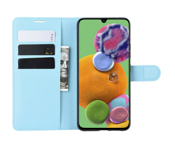 LITCHI LEATHER WALLET CASE for Galaxy A90 5G#Colour_Light Blue