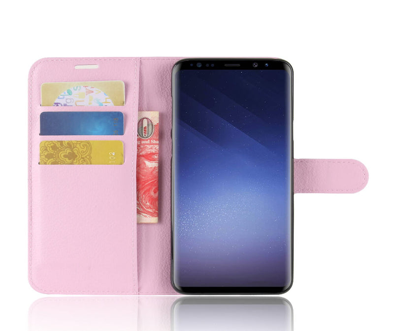 LITCHI LEATHER WALLET CASE for Galaxy for S9+